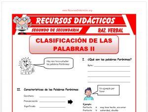 Ficha de Las Palabras Parónimas para Segundo de Secundaria