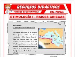 Ficha de Las Raices Griegas para Tercero de Secundaria