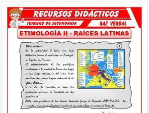 Ficha de Las Raíces Latinas para Tercero de Secundaria