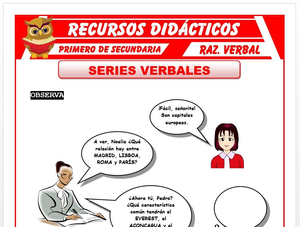 Ficha de Las Series Verbales para Primero de Secundaria