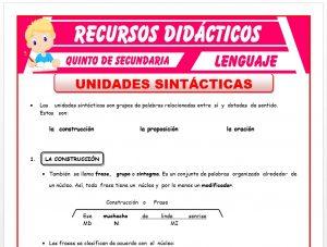 Ficha de Las Unidades Sintácticas para Quinto de Secundaria