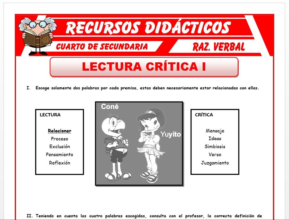 Ficha de Lectura Crítica para Cuarto de Secundaria