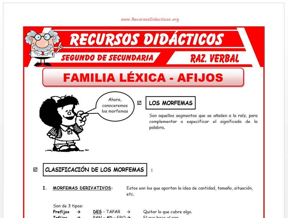 Ficha de Los Afijos de una Palabra para Segundo de Secundaria