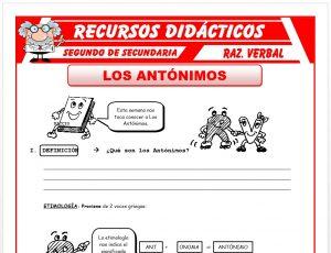Ficha de Los Antónimos para Segundo de Secundaria