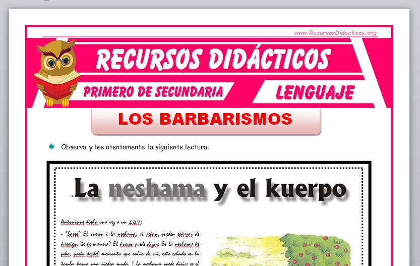 Ficha de Los Barbarismos para Primero de Secundaria