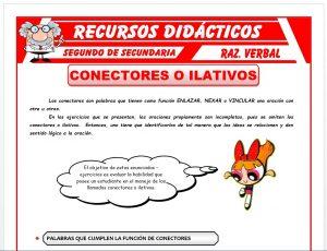 Ficha de Los Conectores o Ilativos para Segundo de Secundaria