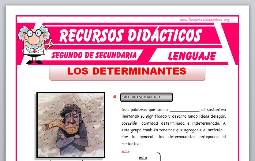 Ficha de Los Determinantes para Segundo de Secundaria