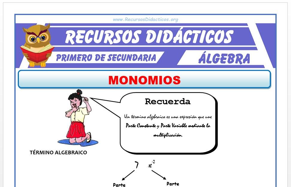 Ficha de Los Monomios para Primero de Secundaria