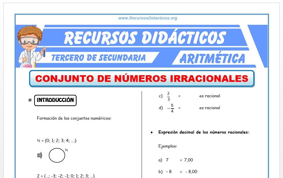 Ficha de Los Números Irracionales para Tercero de Secundaria