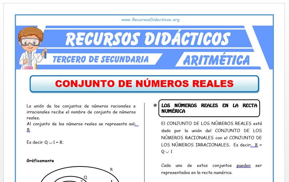 Ficha de Los Números Reales para Tercero de Secundaria