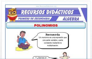 Ficha de Los Polinomios para Primero de Secundaria