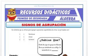 Ficha de Los Signos de Agrupación para Primero de Secundaria