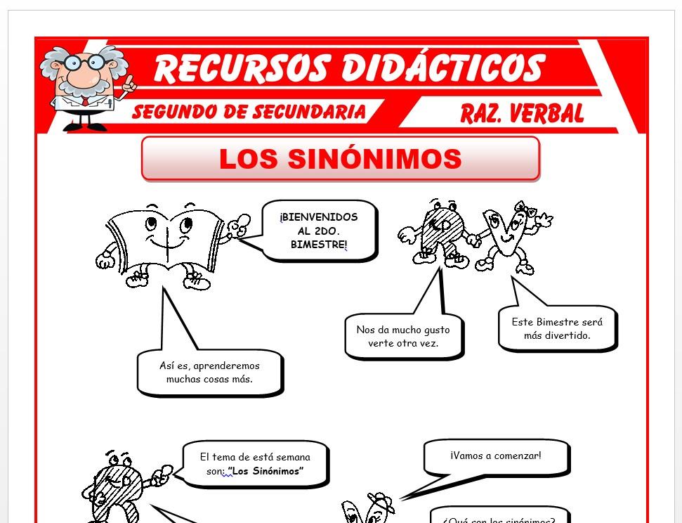 Ficha de Los Sinónimos para Segundo de Secundaria