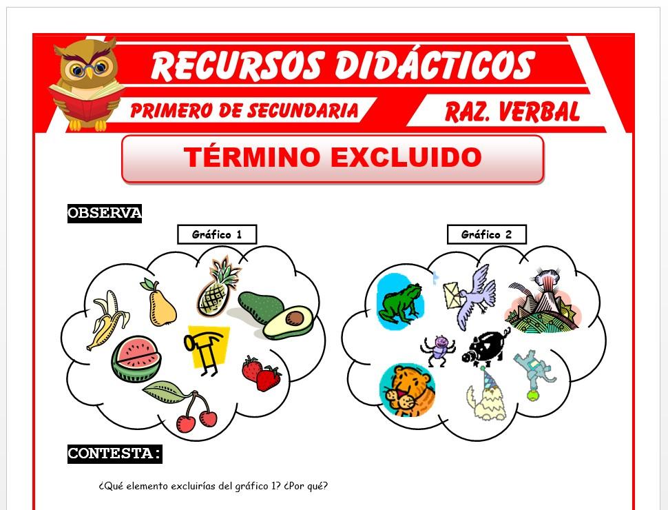Ficha de Los Términos Excluidos para Primero de Secundaria