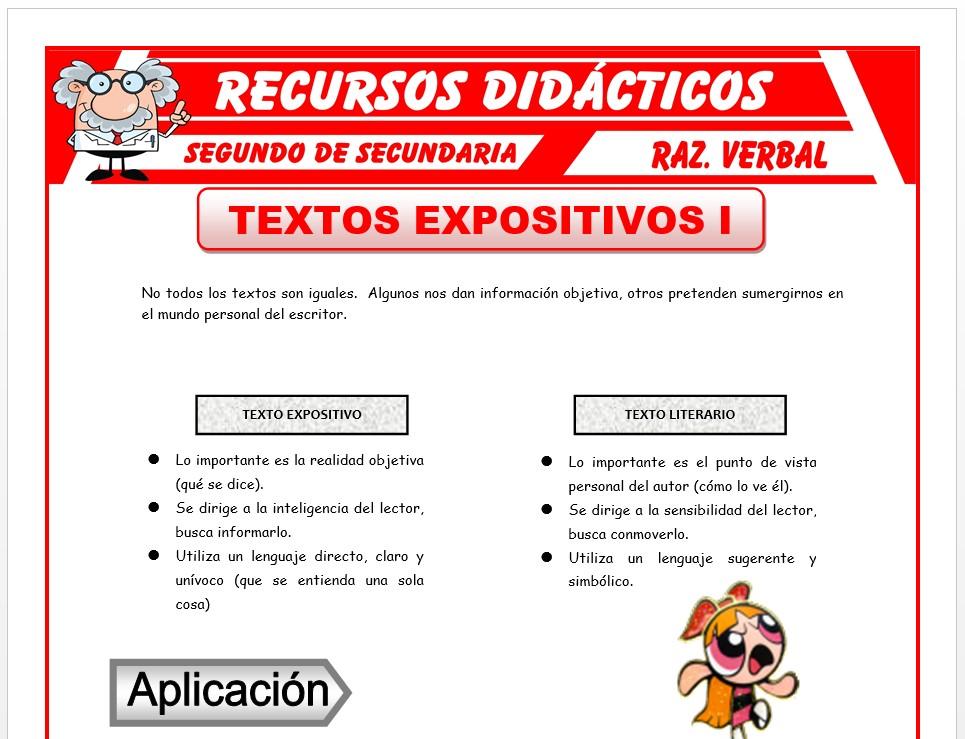 Ficha de Los Textos Expositivos para Segundo de Secundaria
