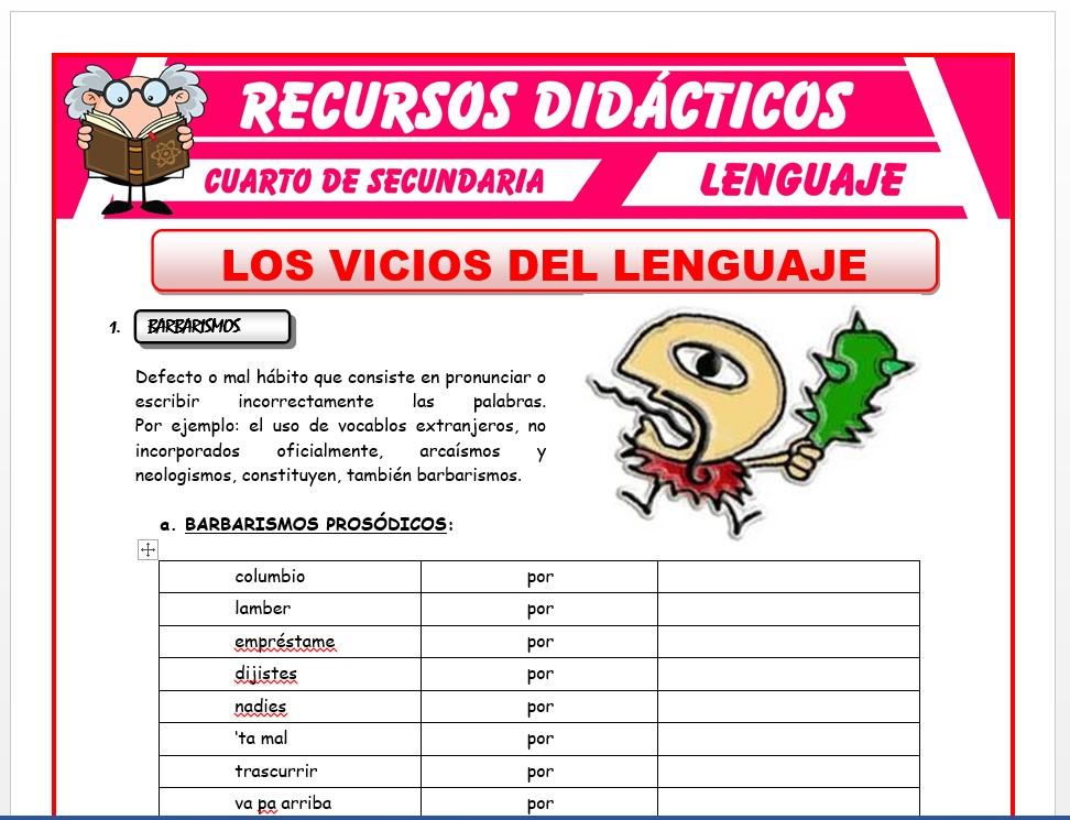Ficha de Los Vicios del Lenguaje para Cuarto de Secundaria