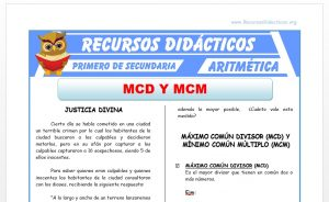 Ficha de Máximo Comun Divisor y Mínimo Comun Multiplo para Primero de Secundaria