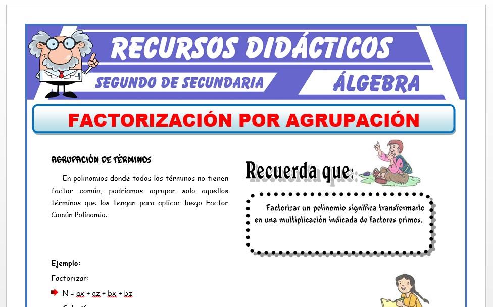 Ficha de Método de Agrupación de Términos para Segundo de Secundaria