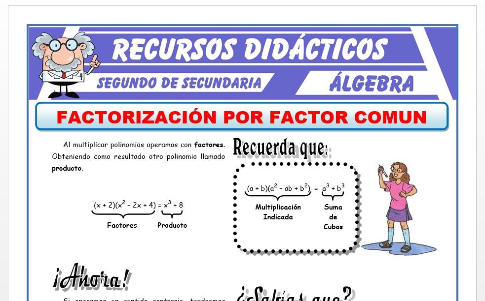 Ficha de Método de Factor Comun para Segundo de Secundaria
