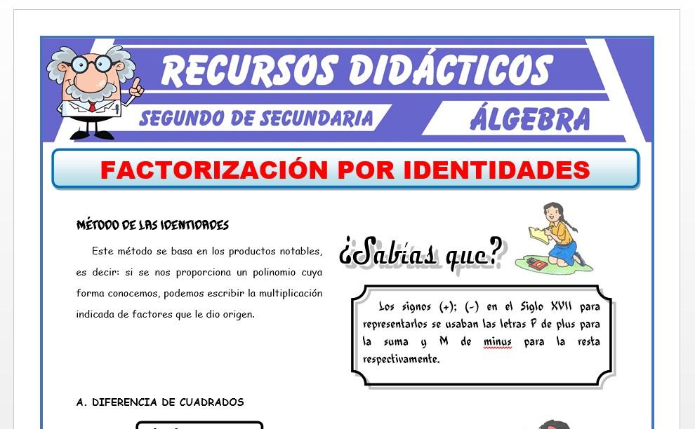 Ficha de Método de Identidades para Segundo de Secundaria