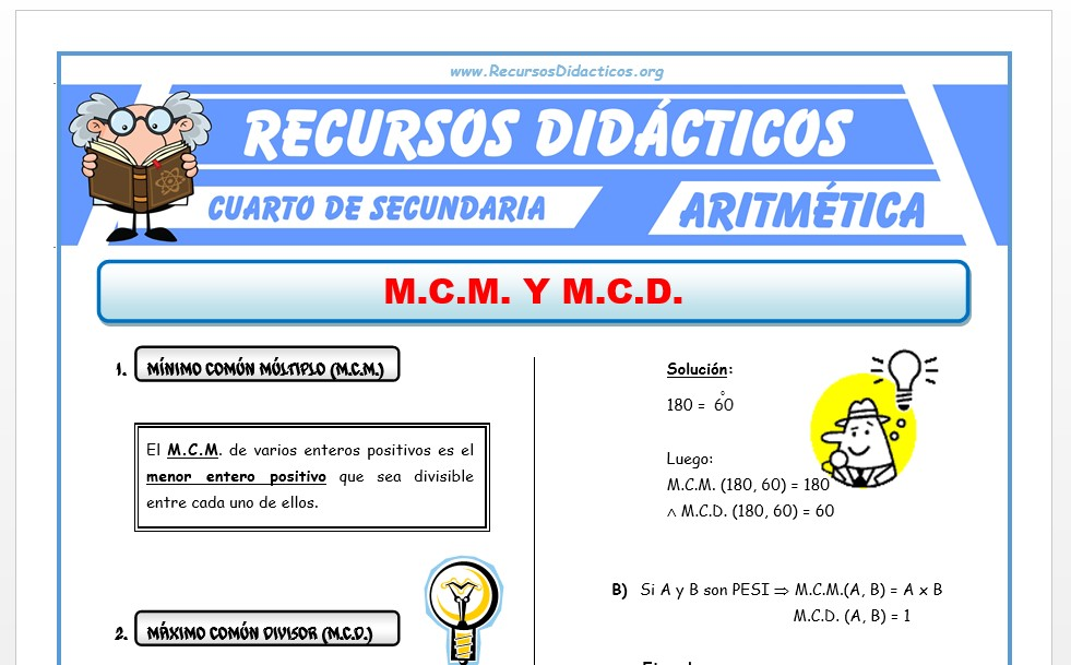Ficha de MCD y MCM para Cuarto de Secundaria