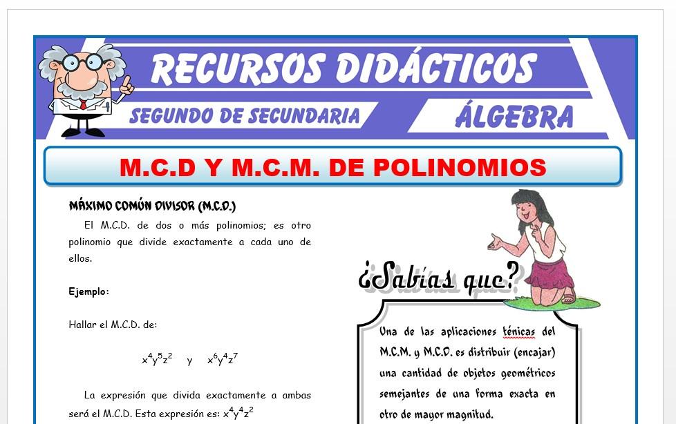 Ficha de MCM y MCD de Polinomios para Segundo de Secundaria