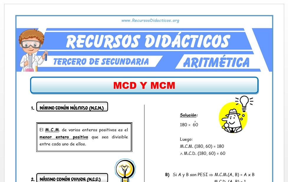 Ficha de MCM y MCD para Tercero de Secundaria