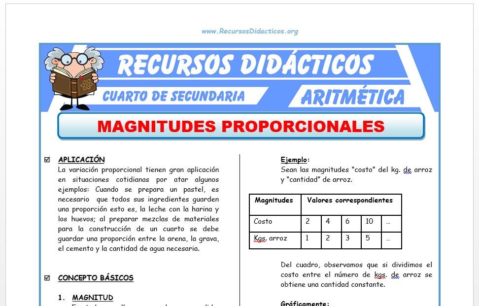 Ficha de Magnitudes Proporcionales Ejercicios para Cuarto de Secundaria