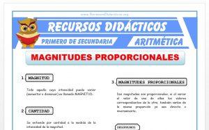 Ficha de Magnitudes Proporcionales para Primero de Secundaria
