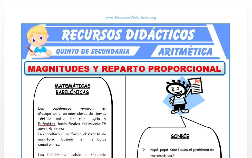 Ficha de Magnitudes y Reparto Proporcional para Quinto de Secundaria