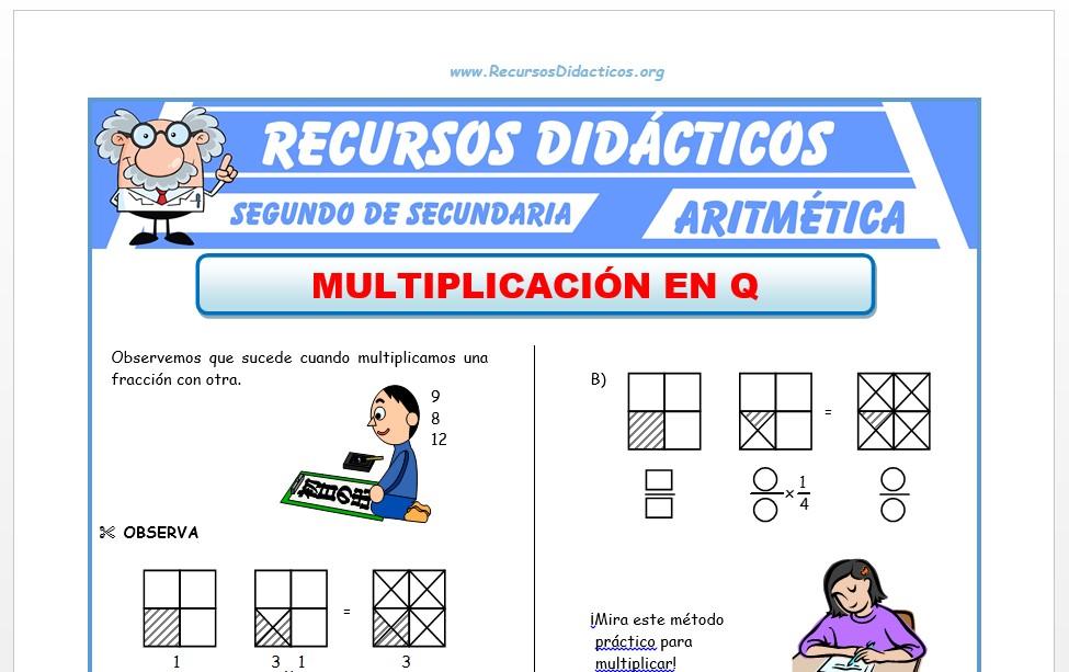 Ficha de Multiplicación de Fracciones para Segundo de Secundaria