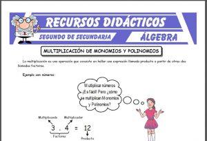 Ficha de Multiplicación de Monomios y Polinomios para Segundo de Secundaria