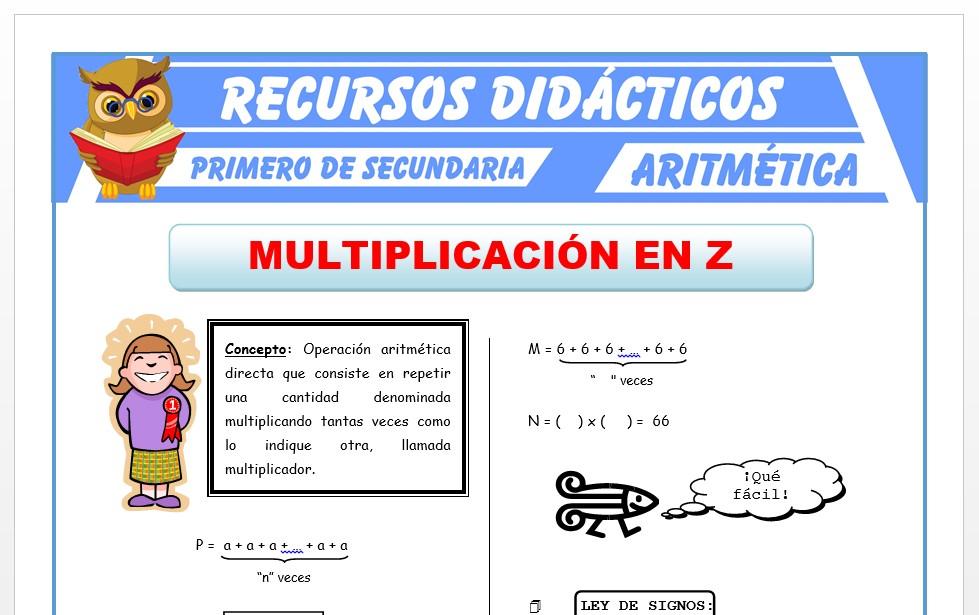 Ficha de Multiplicación de Números Enteros para Primero de Secundaria