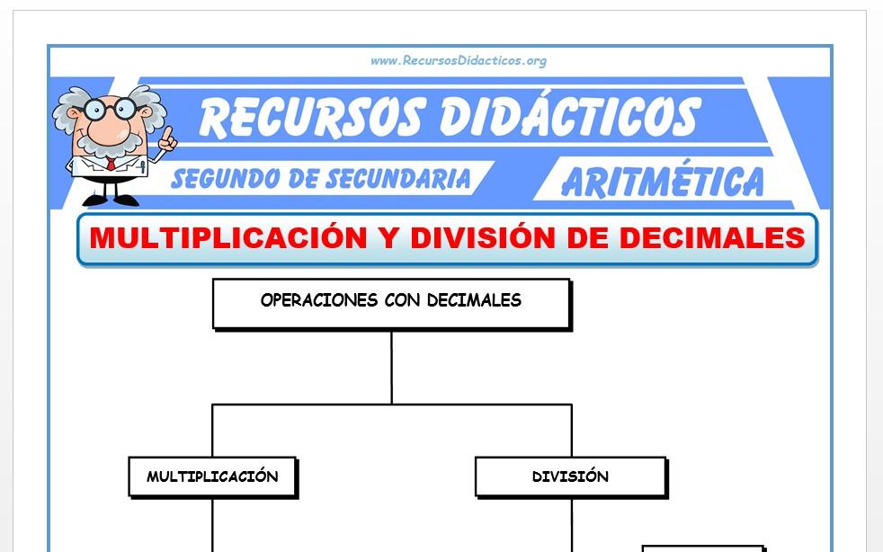 Ficha de Multiplicación y División de Decimales para Segundo de Secundaria