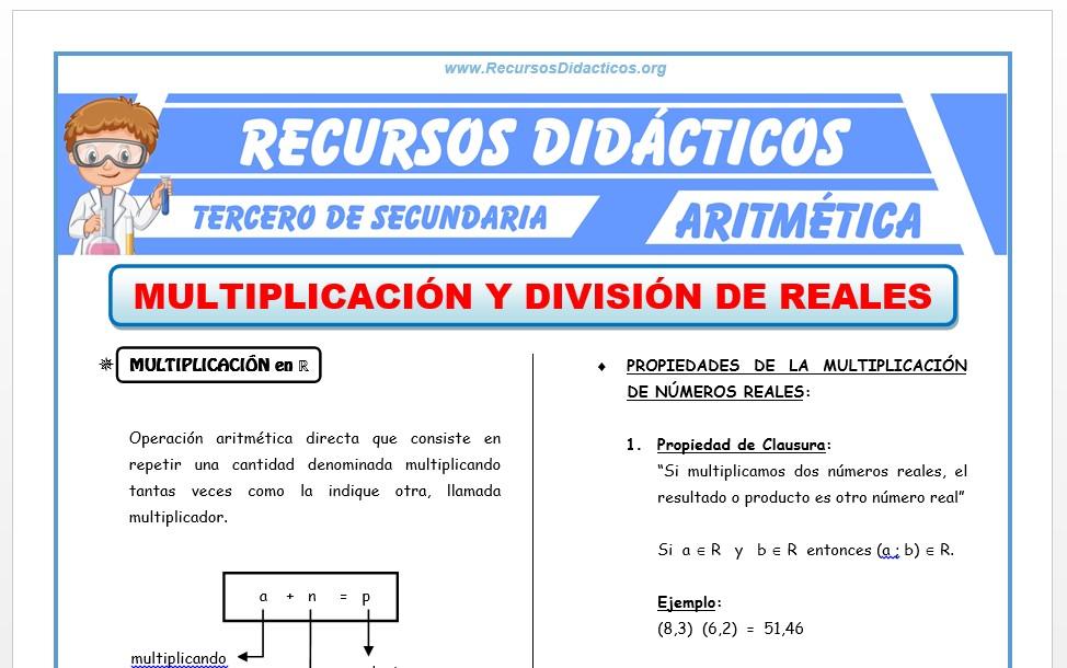 Ficha de Multiplicación y División de Números Reales para Tercero de Secundaria