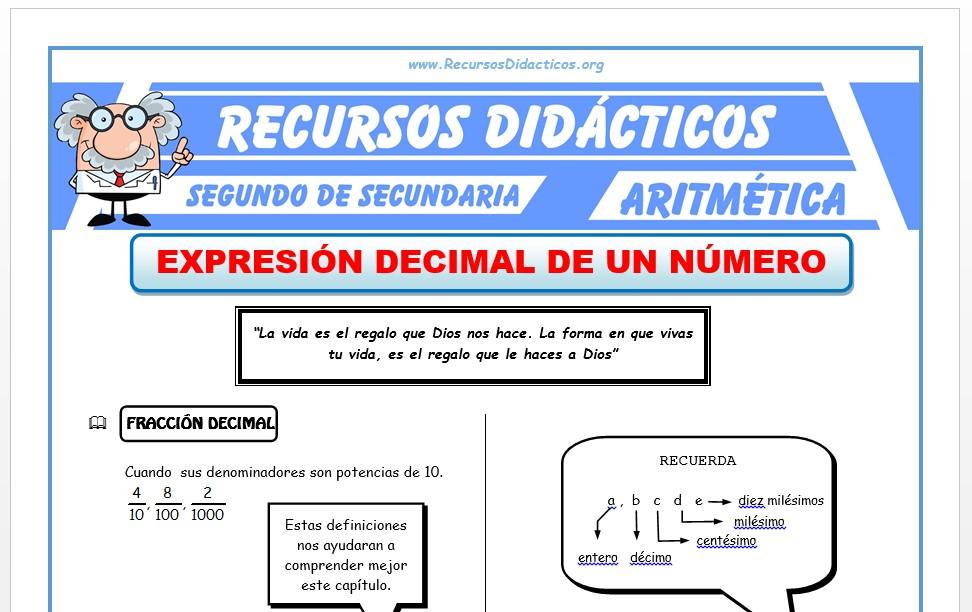 Ficha de Número Decimal para Segundo de Secundaria