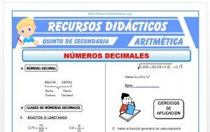 Ficha de Números Decimales para Quinto de Secundaria