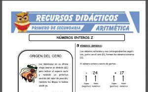 Ficha de Números Enteros para Primero de Secundaria