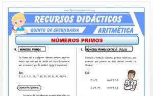 Ficha de Números Primos ejercicios para Quinto de Secundaria