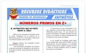 Ficha de Números Primos en los Enteros para Primero de Secundaria
