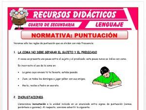 Ficha de Normas de Puntuación para Cuarto de Secundaria