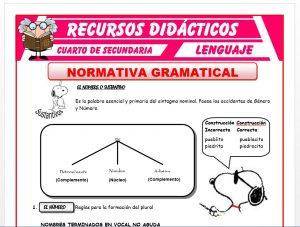 Ficha de Normativa Gramatical para Cuarto de Secundaria