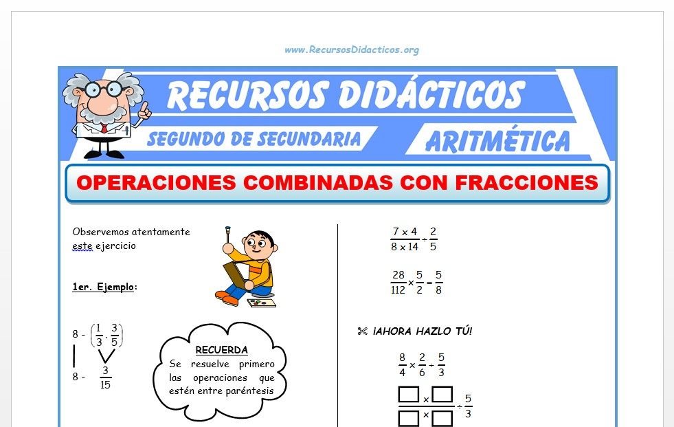 Ficha de Operaciones Combinadas con Fracciones para Segundo de Secundaria