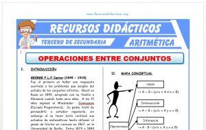 Ficha de Operaciones Entre Conjuntos para Tercero de Secundaria