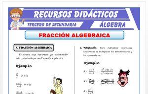 Ficha de Operaciones con Fracciones Algebraicas para Tercero de Secundaria