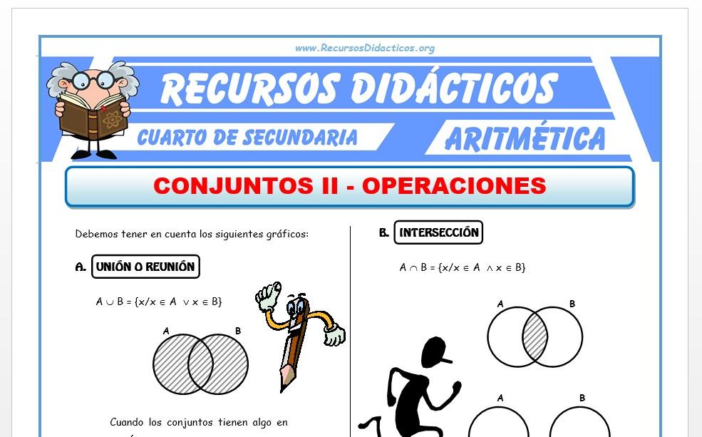 Ficha de Operaciones de Conjuntos para Cuarto de Secundaria