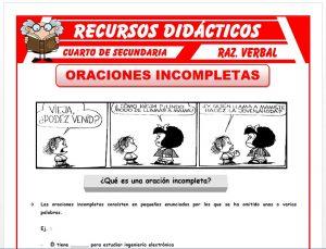 Ficha de Oraciones Incompletas Ejercicios para Cuarto de Secundaria