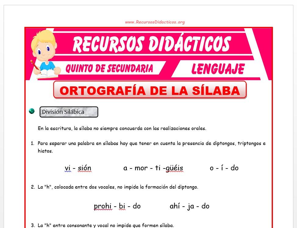 Ficha de Ortografía de la Sílaba para Quinto de Secundaria