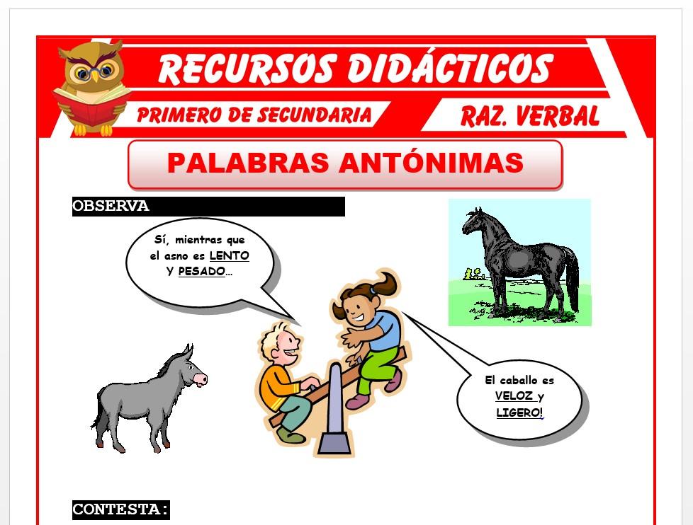 Ficha de Palabras Antonimas para Primero de Secundaria