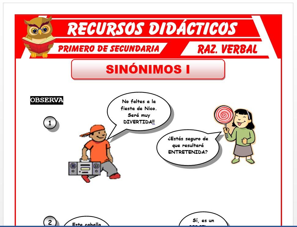 Ficha de Palabras Sinónimas para Primero de Secundaria